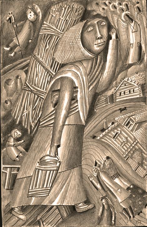 Борис Забирохин. Иллюстрация к сказке Н.С. Лескова «Маланья – голова баранья»